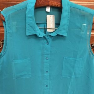Forever21 Shear Teal Button Down Sleeveless Blouse